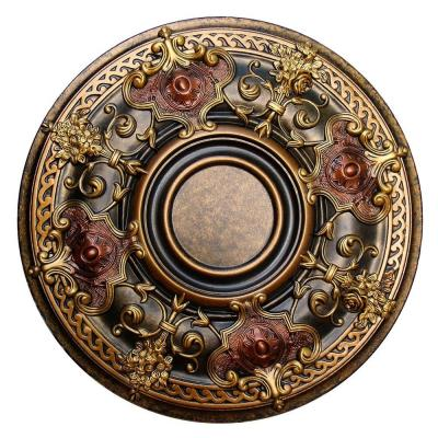 Fine Art Deco 28-1/8 in. Shady Impression, Bronze, Gold, Copper, Polyurethane Hand Painted Ceiling Medallion