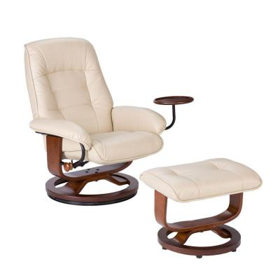 Leather Recliner and Ottoman Set in Taupe Product Photo