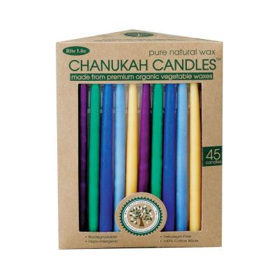null 6 in. Multicolored Vegetable-Wax Hanukkah Candles (45 Per Box)