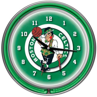 Trademark Global 14 in. Boston Celtics NBA Chrome Double Ring Neon Wall Clock