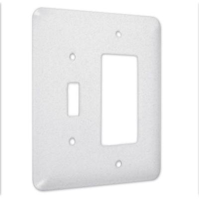 2-Gang Toggle and Decorator Princess Metal Wall Plate - White Textured