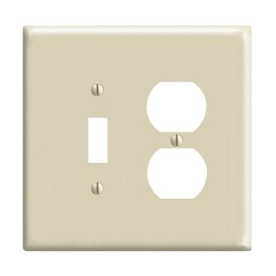 2-Gang Midway 1 Toggle 1 Duplex Combination Nylon Wall Plate, Ivory
