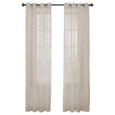Curtain Fresh Arm and Hammer Odor Neutralizing Grommet Ivory Sheer Curtain Panel, 108 in. Length