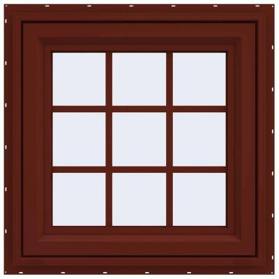 23.5 in. x 23.5 in. V-4500 Series Right-Hand Casement Vinyl Window with Grids - Red Product Photo
