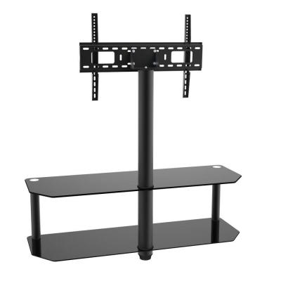 Glass and Metal Media Component Shelf with Integrated TV Mount Kit