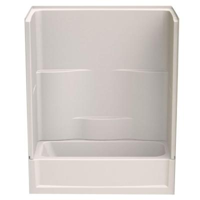 Aquatic Remodeline Smooth Wall 60 in. x 30 in. x 72 in. 2-Piece Bath and Shower Kit with Right Drain in Biscuit