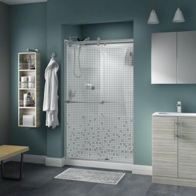 Delta Lyndall 48 in. x 71 in. Semi-Frameless Contemporary Sliding Shower Door in Nickel with Mozaic Glass