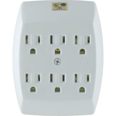 GE 6-Outlet Grounded In-Wall Adapter - White