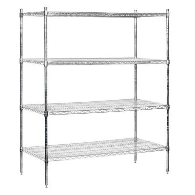 Salsbury Industries 9600S Series 60 in. W x 74 in. H x 24 in. D Industrial Grade Welded Wire Stationary Wire Shelving in Chrome
