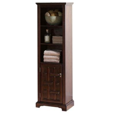 Home Decorators Collection Fairhaven 54 in. H x 16 in. W 1-Door Linen Cabinet in Dark Walnut
