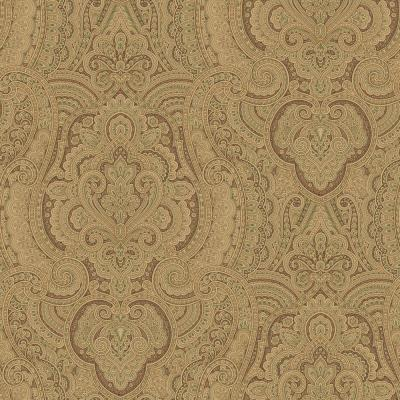 The Wallpaper Company 8 in. x 10 in. Brown Damask Swirl Wallpaper Sample