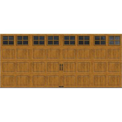 Clopay Gallery Collection 16 ft. x 7 ft. 6.5 R-Value Insulated Ultra-Grain Medium Garage Door with SQ22 Window