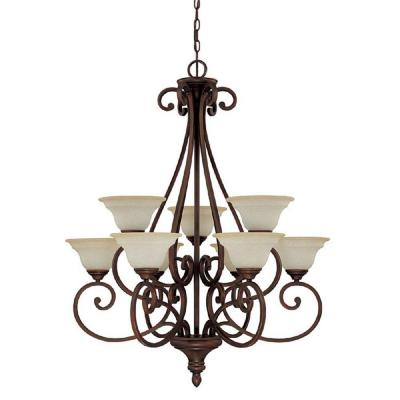Filament Design 9-Light Burnished Bronze Chandelier with Mist Scavo Glass Shade