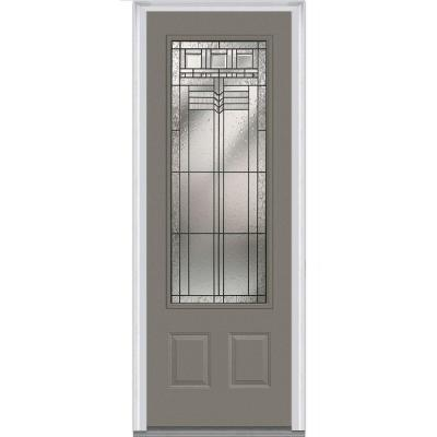 36 in. x 96 in. Oak Park Decorative Glass 3/4 Lite Painted Fiberglass Smooth Prehung Front Door Product Photo