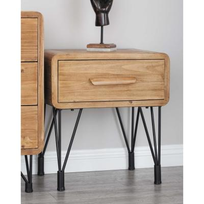 Modern Wood and Metal Side Table