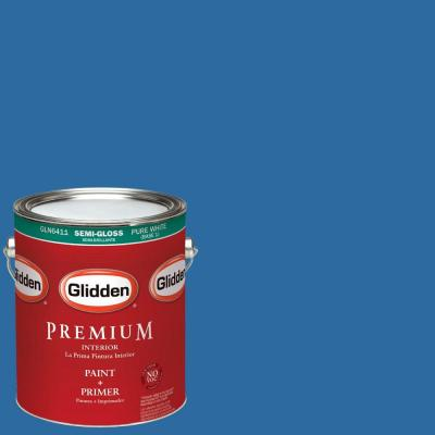 1 gal. #HDGV14D Deep Sapphire Blue Semi-Gloss Interior Paint with Primer