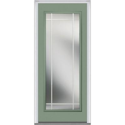 36 in. x 80 in. Classic Clear Glass PIM Full Lite Painted Majestic Steel Prehung Front Door Product Photo
