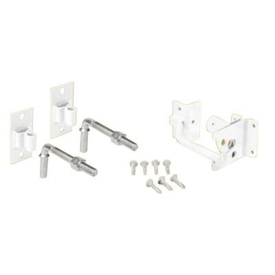 First Alert 3.75 in. x 17.5 in. White Steel Flat Wall Fence Gate Hardware Kit