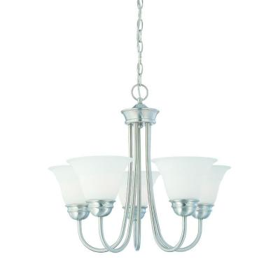 Thomas Lighting Bella 5-Light Brushed Nickel Chandelier with Etched Glass Shade