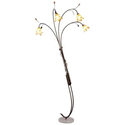 OK LIGHTING 89 in. Bronze Windance Floral Arch Lamp
