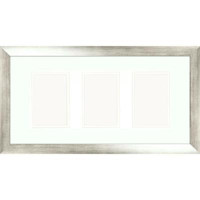 PTM Images 3-Opening 4 in. x 6 in. Matted Silver Photo Collage Frame (Set of 2)