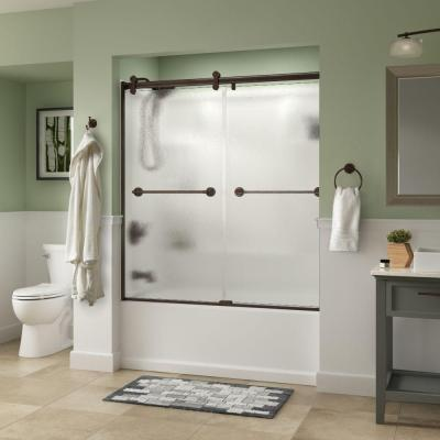 Delta Phoebe 60 in. x 58-3/4 in. Semi-Frameless Contemporary Sliding Bathtub Door in Bronze with Rain Glass