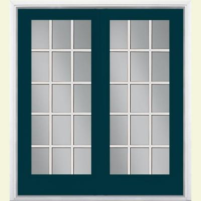 Prehung Center-Hinged 15 Lite Primed Steel Patio Door with Brickmold