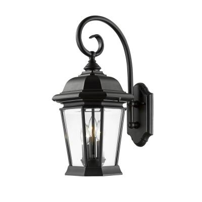 Presley 3-Light Black Outdoor Sconce Product Photo