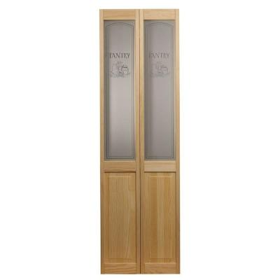 32 in. x 80 in. Pantry Glass Over Raised Panel Pine Interior Bi-fold Door Product Photo