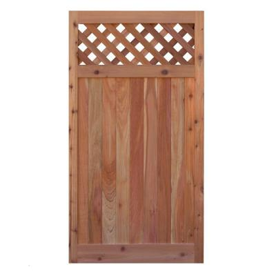 3 ft. W x 6 ft. H Western Red Cedar Flat Top Diagonal Lattice Fence Gate Product Photo