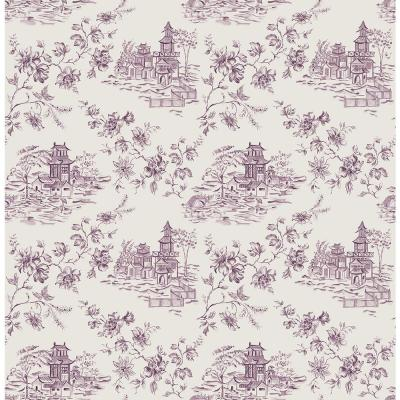 56 sq. ft. Laure Purple Toile Wallpaper Product Photo