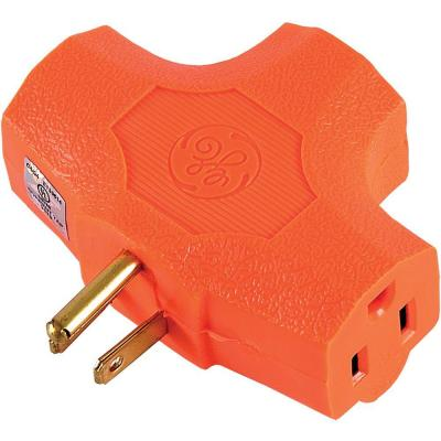 GE 15 Amp Grounded T-shaped Outlet Tap Adapter - Orange