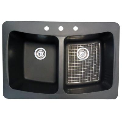 Glacier Bay Dual Mount Granite 33 in. 3-Hole Double Basin Kitchen Sink with Drains and Bottom Grid in Black