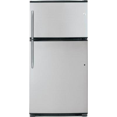 GE 21 cu. ft. Top Freezer Refrigerator in Stainless Steel