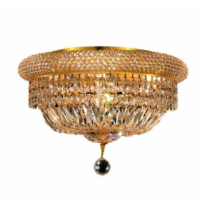 8-Light Gold Flushmount with Clear Crystal