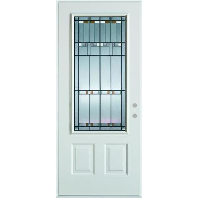 36 in. x 80 in. Architectural 3/4 Lite 2-Panel Prefinished White