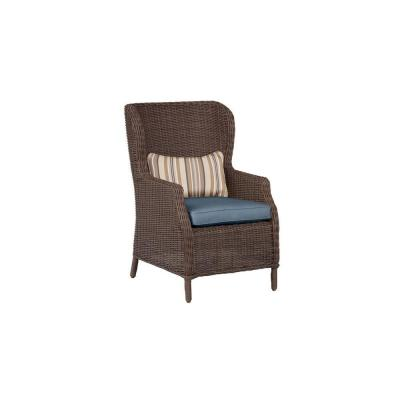 Vineyard Patio Cafe Chair in Denim with Terrace Lane Lumbar Pillow