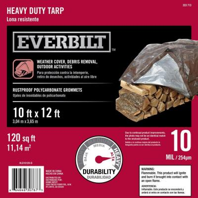 Everbilt 10 ft. x 12 ft. Silver and Brown Heavy Duty Tarp