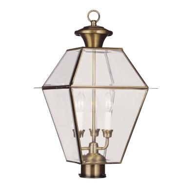 Filament Design 3-Light Outdoor Antique Brass Post Head with Clear Beveled Glass