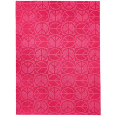Garland Rug Large Peace Pink 5 ft. x 7 ft. Area Rug
