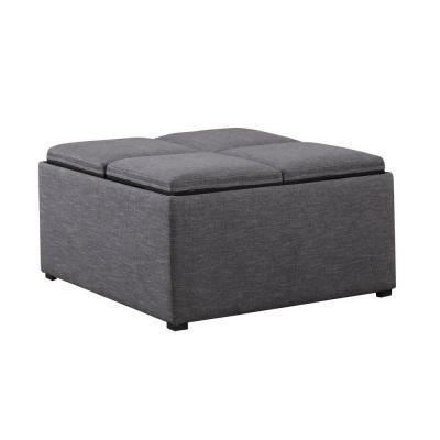 Simpli home avalon linen type fabric coffee table storage ottoman in slate grey ay f 07 gl the Linen ottoman coffee table