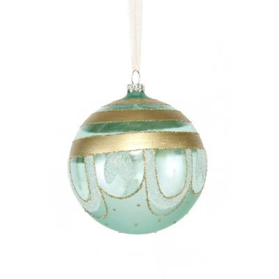 Holiday Collection 4.5 in. Clear Glass Striped Ball Ornament (6-Pack)