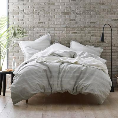 Dotted Stripe Organic Cotton Percale Duvet Cover Set