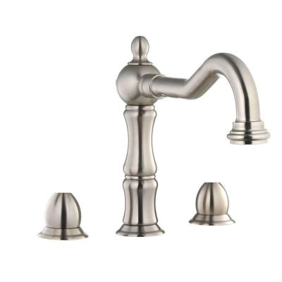 Belle Foret 2-Handle Deck-Mount Roman Tub Faucet in Brushed Nickel