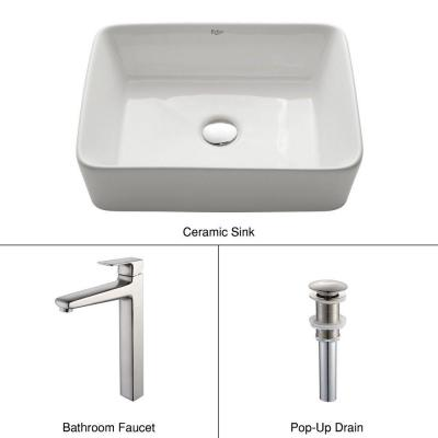 Rectangular Ceramic Sink in White with Virtus Faucet in Brushed Nickel Product Photo