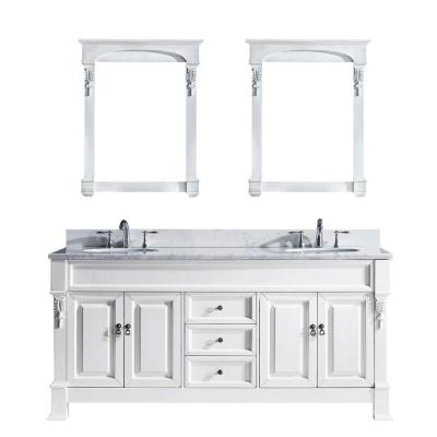 Virtu USA Huntshire 72 in. W x 22.05 in. D x 33.86 in. H White Vanity With Marble Vanity Top With White Square Basin and Mirror