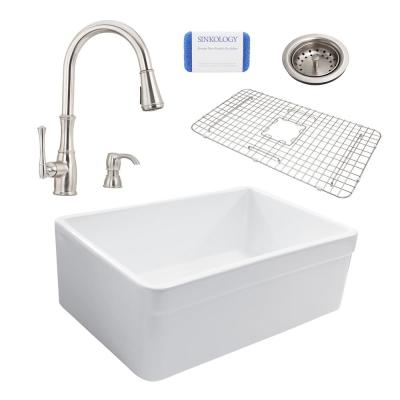 SINKOLOGY Wheatley Reversible All-In-One Farmhouse Fireclay 30 in. Single Basin Kitchen Sink with Pfister Stainless Faucet