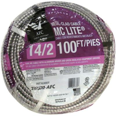 AFC Cable Systems 14/2 x 100 ft. Solid MC Lite Cable