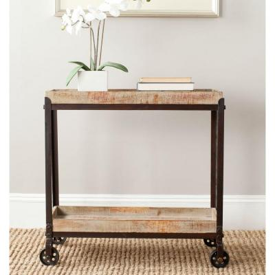 Safavieh Sally Natural and Black Brushed Mobile Console Table