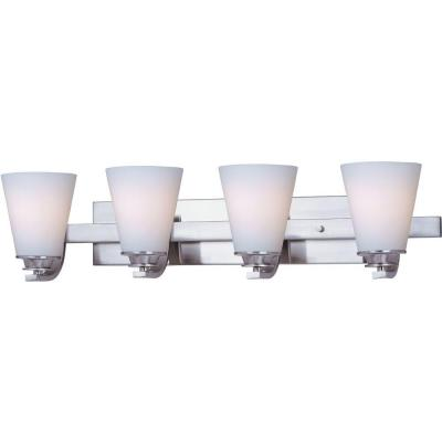 Conical 4-Light Satin Nickel Bath Vanity Light